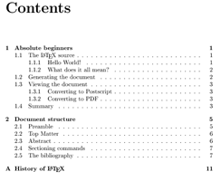 default table of contents as typeset by LaTeX
