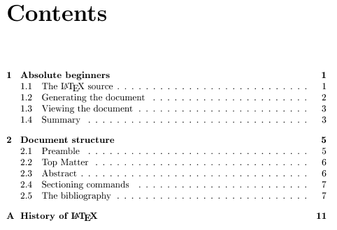 Tables of contents - Getting to grips with LaTeX - Andrew Roberts